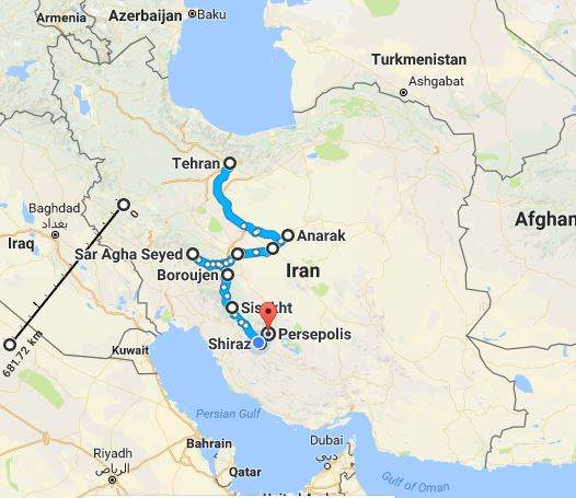 Iran nomad tour map