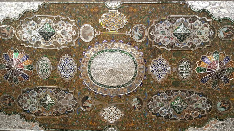Persian art with colorful glasses and mirror pieces in jewel like design, used in Naranjestan e Ghavam